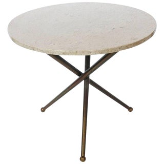 1950s Italian Tripod Brass and Travertine Side Table