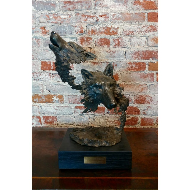 Mark Hopkins -Cry of the Wolves - Southwestern Bronze Sculpture For Sale - Image 10 of 10
