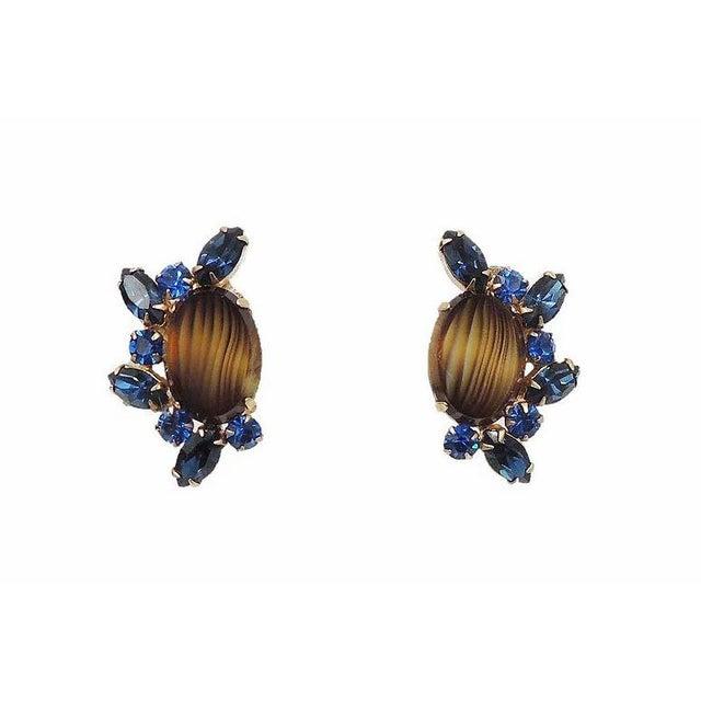 1960s Hattie Carnegie Striped Rhinestone Earrings For Sale - Image 9 of 9