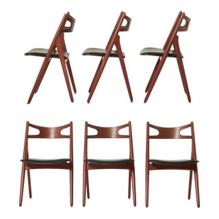 Vintage Mid Century Hans Wegner Ch-29 Sawbuck Dining Chairs- Set of 6 For Sale