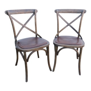 Restoration Hardware Oak Bistro Chairs-A Pair For Sale