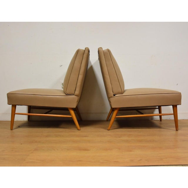 Mid-Century Modern Beige Slipper Lounge Chairs - A Pair For Sale In Boston - Image 6 of 9