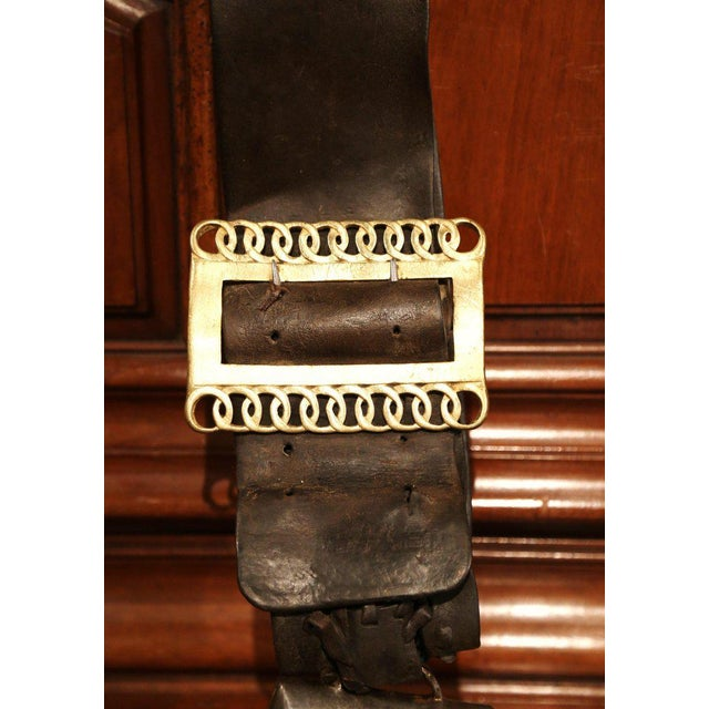 Metal 19th Century French Signed Cow Bell With Original Leather Collar & Bronze Buckle For Sale - Image 7 of 9