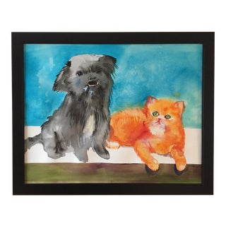 "Large ""'Meet the Frenemies"" Cairn Dog and Ginger Cat Painting For Sale"