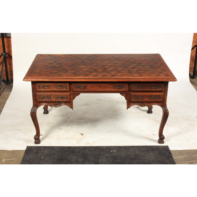 1930s French Louis XV-Style Parquet Top Writing Desk For Sale - Image 9 of 9