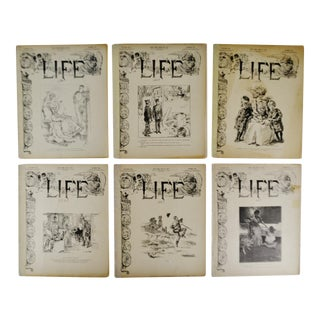 Antique 1907 Life Magazines - Group of 6 For Sale