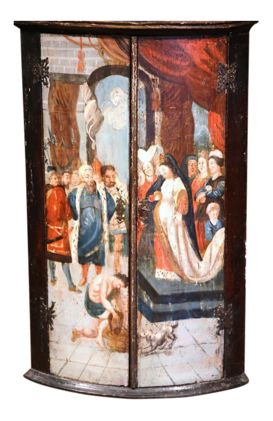 18th Century Italian Baroque Painted Wood Hanging Corner Cabinet