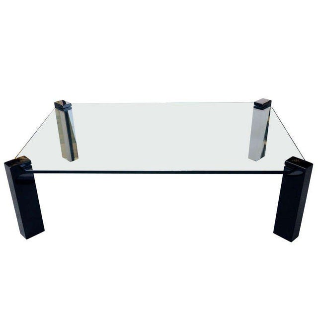 Exceptional Modernist Black lacquer and Glass Cocktail Table For Sale - Image 9 of 9