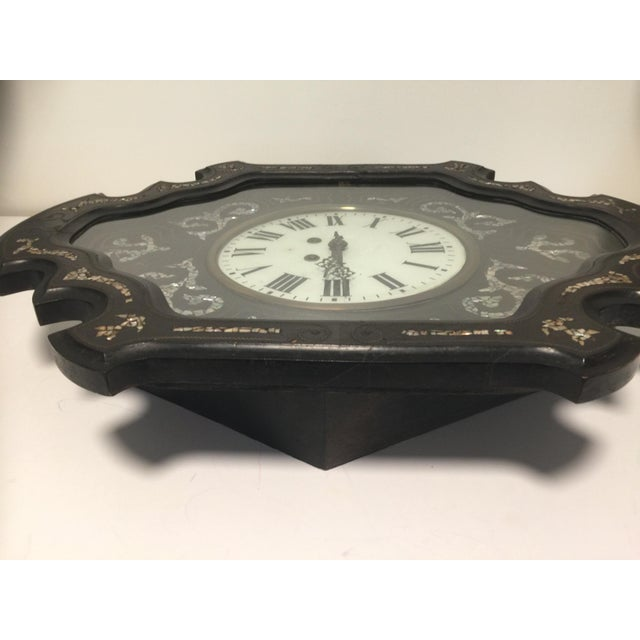 Ebony Napoleon III Ebony and Mother of Pearl Inlay Wall Clock For Sale - Image 8 of 11