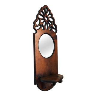 Large Vintage Carved Wood Mirror Wall Shelf For Sale