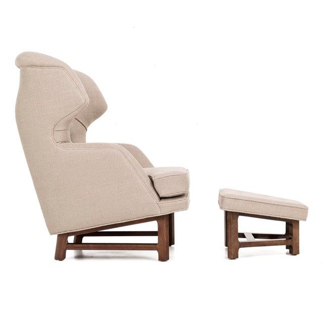 sophisticated edward wormley wingback chair and ottoman for dunbar
