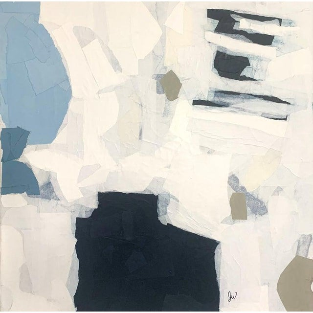 """White """"Ruminating"""" Contemporary Collage Abstract on Canvas by Judith Williams For Sale - Image 8 of 8"""
