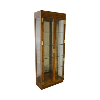 Henredon Campaign Style Tall Narrow Curio Display Cabinet For Sale