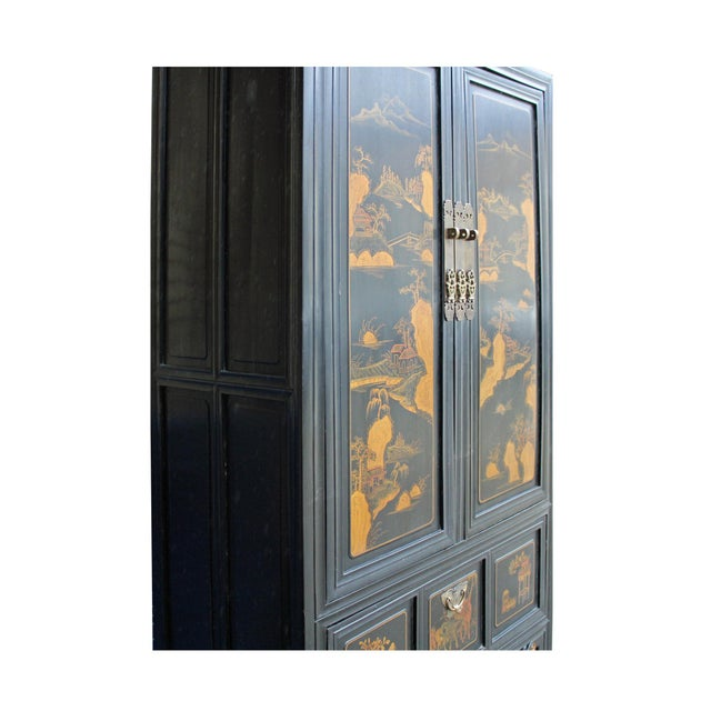 Chinese Fujian Golden Mountian Water Graphic Tall Armoire Cabinet For Sale - Image 9 of 10