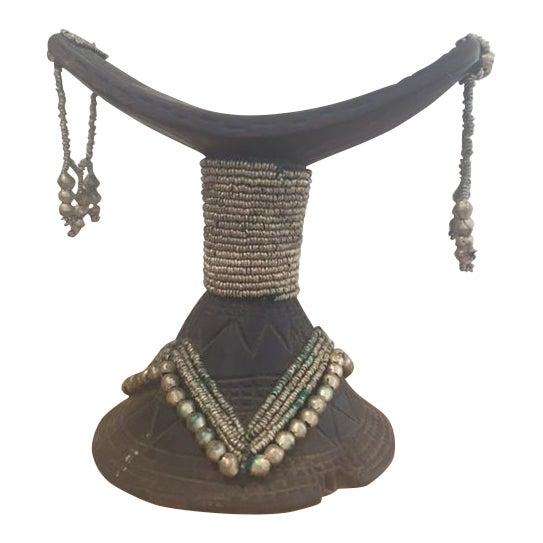 Vintage African Wood & Bead Headrest - Image 1 of 7