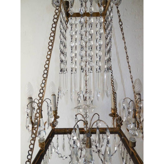 19th Century French Neoclassical Crystal and Bronze Chandelier with Spears For Sale - Image 4 of 11