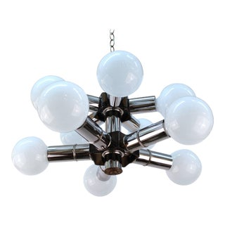 Atomic Age Two-Tiered Molecular Chandelier in Chrome For Sale
