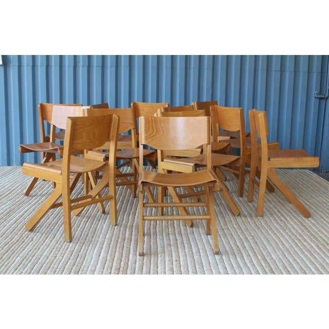 Set of 12 bentwood maple dining chairs by Joamin Baumann. Made in France, circa 1950s. Stamped 'Baumann' under each chair....