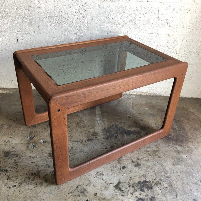 Brown Vintage Mid Century Modern Danish Side Table by Komfort Furniture For Sale - Image 8 of 11