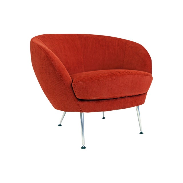 Brazilian Modern Mannes Curved Back Red Club Chair - Image 1 of 11