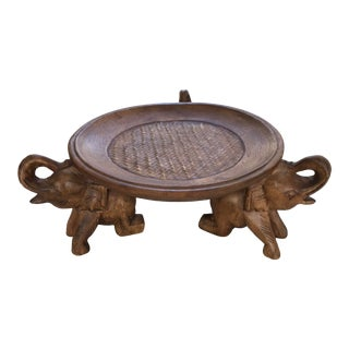 Vintage Carved Wood Elephant Cake Stand/Platter For Sale