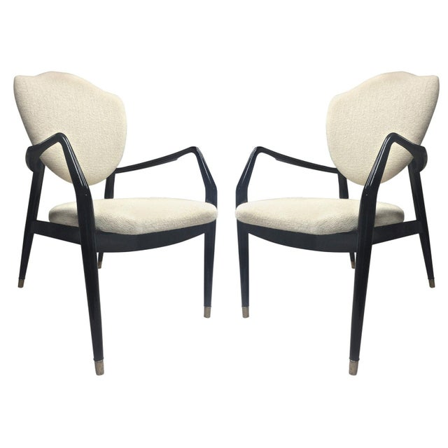 Mid-Century Modern Karl-Erik Ekselius Rare Pair of Black Lacquered Chairs Covered in Alpaca Cloth For Sale - Image 3 of 3