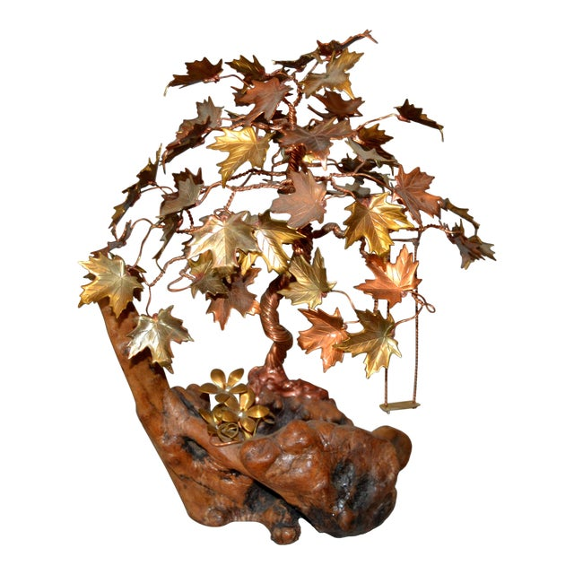 Handcrafted Bonsai Tree Brass, Copper, Bronze Sculpture on Burl Wood Base For Sale
