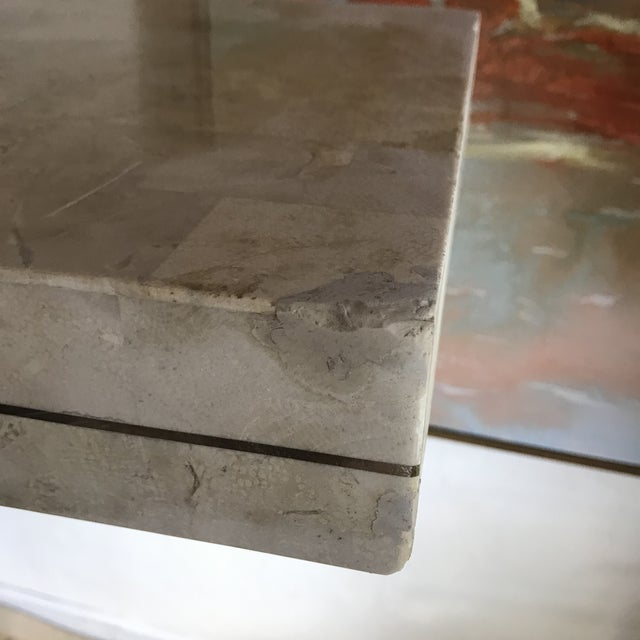 1970s Contemporary Maitland Smith Tessellated Stone Console Table For Sale - Image 10 of 12