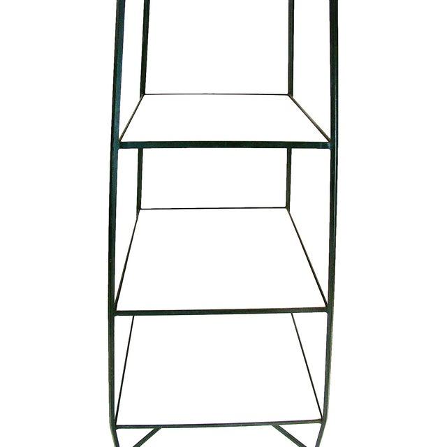 Parzinger-Style Milk Glass Wrought Iron Étagère - Image 8 of 8