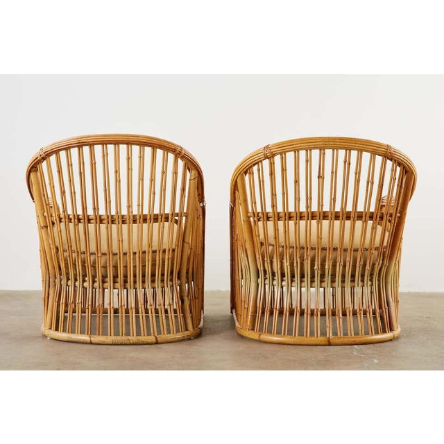 Set of Eight Michael Taylor Organic Modern Bamboo Lounge Chairs For Sale - Image 12 of 13