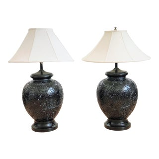 Stunning Pair of Gloss Black, Round Table Lamps With Carved Relief Design For Sale