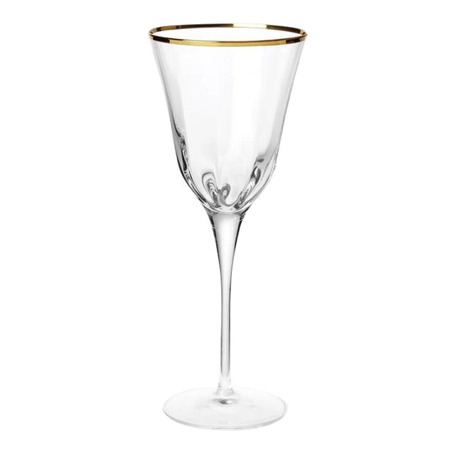 Kenneth Ludwig Chicago Optical Gold Stem Wine Glass For Sale