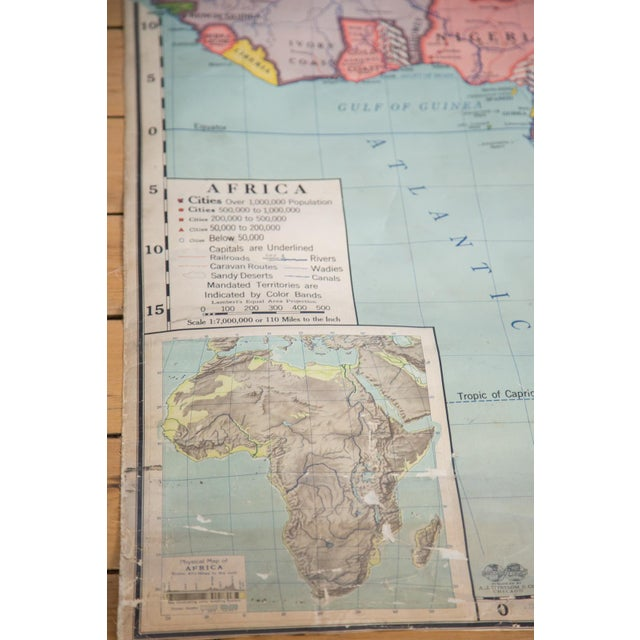 vintage classroom pull down map of africa chairish