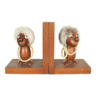 Vintage Teak Scandinavian Gonk Troll Tomte Gnome Bookends Style of Hans Bolling For Sale