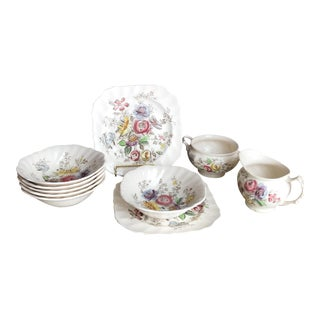 10 Pc Johnson Brothers Sheraton Cottage Floral Collection - Bowls Plates Cream & Sugar