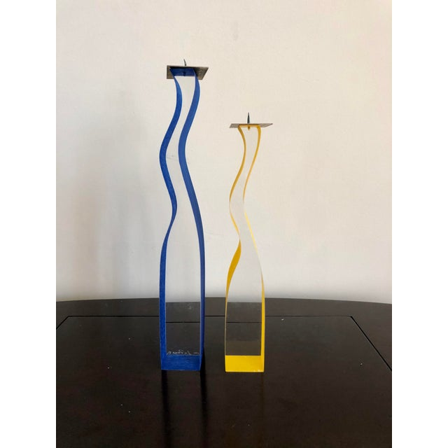 Cec LePage Lucite Candlesticks For Sale - Image 4 of 9