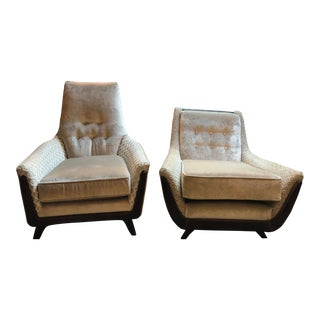 Mid Century Modern Adrian Pearsall His and Hers Lounge Chairs Newly Upholstered - Pair For Sale