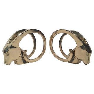 Brass Ram's Head Bookends - A Pair Preview