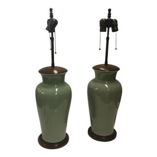Chinese Celadon Lamps a Pair