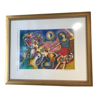 """Vintage Mid Century """"Moonlight Dancing"""" Limited Edition Serigraph by Zamy Steynovitz For Sale"""