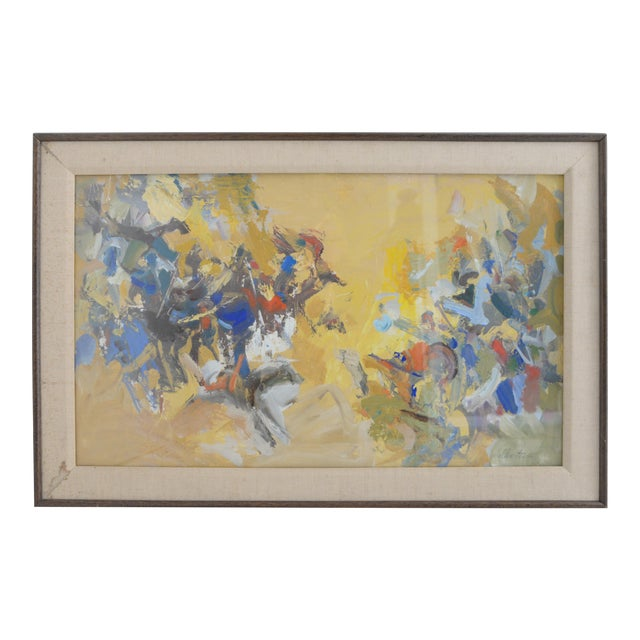 Mid Century Abstract Oil Painting, Framed Behind Glass by Listed Artist Jerry Krellenstein For Sale