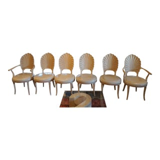 1970s Vintage Venetian Shell Back Grotto Style Chairs- Set of 6 For Sale