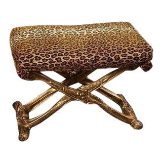 Louis XV Style Carved Gilt Wood Stool For Sale