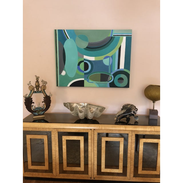 Large Rectangular Abstract Painting in Blues and Greens For Sale In Philadelphia - Image 6 of 7