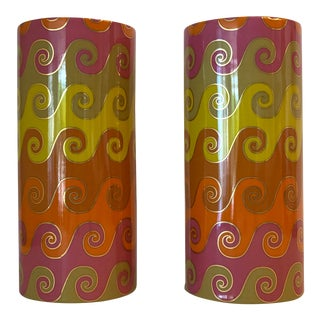 Jonathan Adler Pair of Discontinued Carnaby Waves Vases. Mint. For Sale