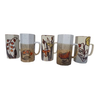 Handcrafted Japanese Stoneware Flowered Expressionist Mugs - Set of 5