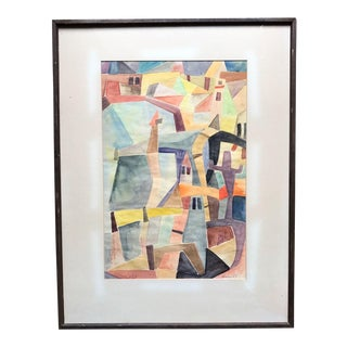 1960s Mid-Century Modern Abstract Cubist Painting