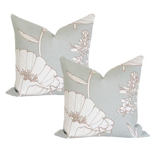 Kravet Poppyfield Seamist Pillow Covers - A Pair For Sale