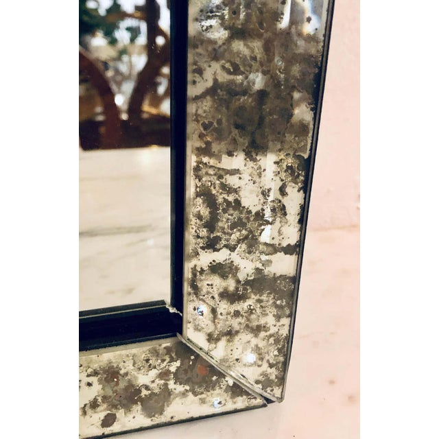 Glass Hollywood Regency Eglomise Wall, Console Pier Mirrors Manner Maison Jansen Pair For Sale - Image 7 of 12