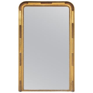 1900s French Louis Philippe Mirror With Textured Gilt Beaded Frame For Sale